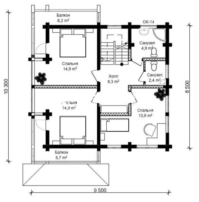 Проект дома с сауной из бруса, план двухэтажного дома и строительство под ключ, проектирование и строительство деревянных домов.