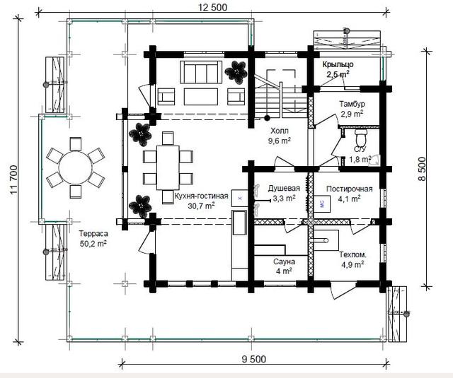 Проект дома с сауной из профилированного бруса, план двухэтажного дома и строительство под ключ, проектирование и строительство деревянных домов.
