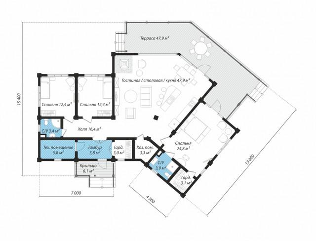 Проект дома с террасой из бруса, план двухэтажного дома и строительство под ключ, проектирование и строительство деревянных домов.