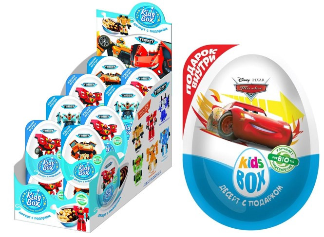 Десерт с подарком Kids Box lkz Для Мальчиков (Мультгерои в ассортименте ) 40гр. /16шт-упак/