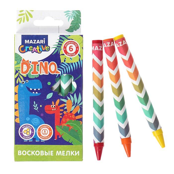 Мелки восковые 6 цветов DINO, круглые, длина = 89 мм, d корпуса= 8 мм, в картонной коробке
