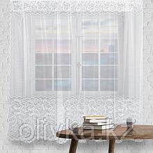 Штора кухонная р.М512Б на шторной ленте в165*ш245 см, белый, пэ 100%