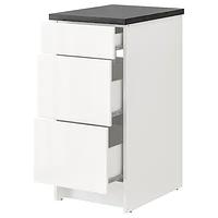 Напольный шкаф с ящиками КНОКСХУЛЬТ глянцевый белый 40 см ИКЕА, IKEA