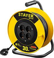 Удлинитель на катушке Stayer, 30 м, 3500 Вт, заземление, 4 гнезда, ПВС 3x1,5 кв мм (55078-30)