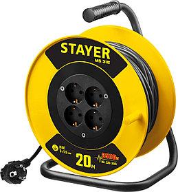 Удлинитель на катушке Stayer, 20 м, 3500 Вт, заземление, 4 гнезда, ПВС 3x1,5 кв мм (55078-20)