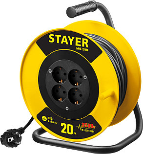 Удлинитель на катушке Stayer, 20 м, 3500 Вт, заземление, 4 гнезда, ПВС 3x1,5 кв мм (55078-20), фото 2