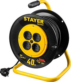 Удлинитель на катушке Stayer, MS 207, 40 м, 2200 Вт, ПВС 2x0,75 (55073-40)