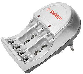 Зарядное устройство для Ni-Mh аккумуляторов ЗУБР 4хААА/АА, время зарядки 6 часов (59233-4)