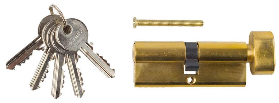 Механизм цилиндровый, ЗУБР, 80 мм, 5-PIN, 5 шт., тип ключ-защелка (52103-80-1), фото 2