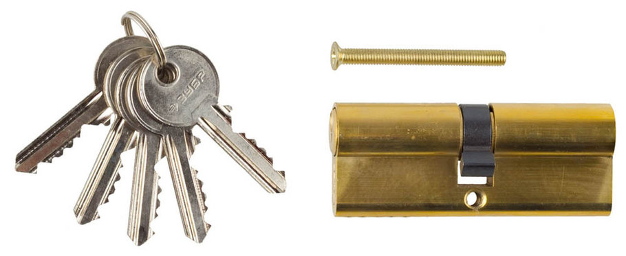 Механизм цилиндровый ЗУБР, 80 мм, 5-PIN, 5 шт., тип ключ-ключ (52101-80-1), фото 2