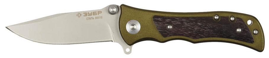 Нож складной СЛЕДОПЫТ, ЗУБР, 200 мм/лезвие 95 мм, металлическая рукоятка с деревянными вставками (47713), фото 2