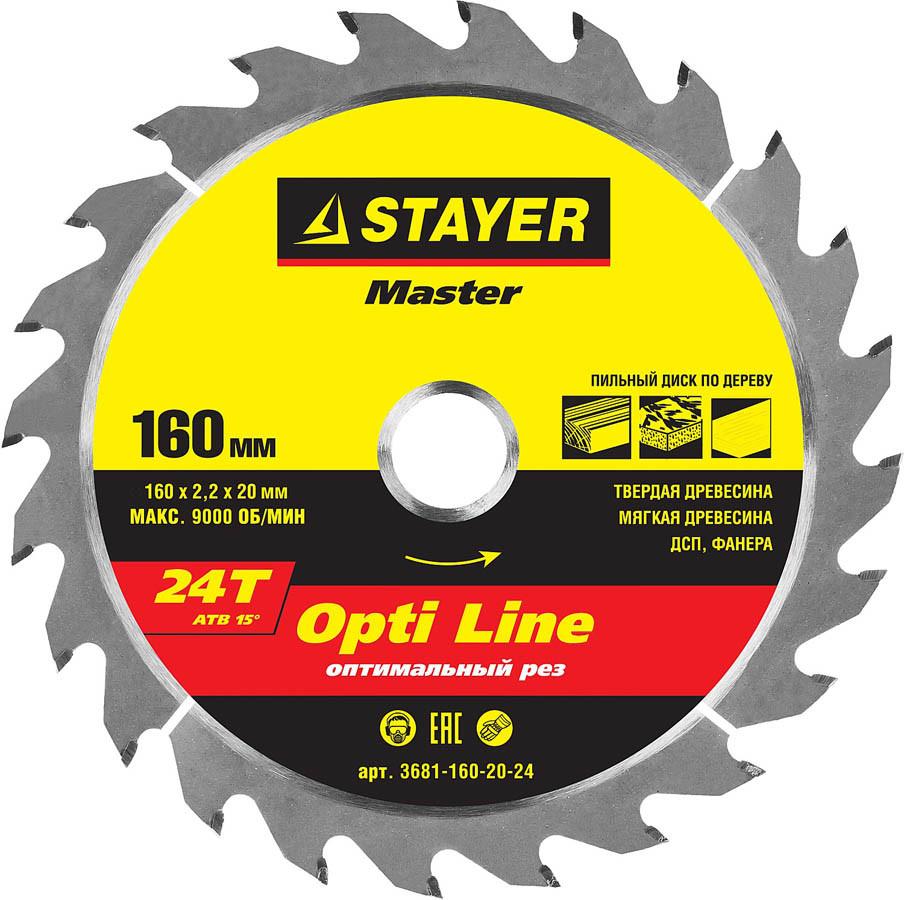 Диск пильный по дереву STAYER Ø 160 x 20 мм, 24T (3681-160-20-24)