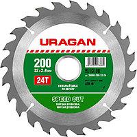 Диск пильный по дереву URAGAN Ø 200 x 32 мм, 24T (36800-200-32-24)