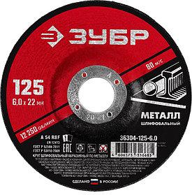 Круг абразивный шлифовальный по металлу ЗУБР d 125 х 6 х 22.2 мм, для УШМ (36304-125-6.0)