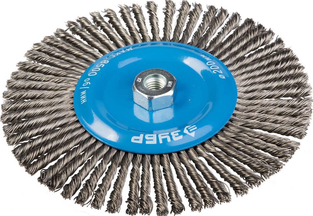 Щетка дисковая для УШМ, ЗУБР Ø 200 мм, проволока 0.5 мм (35192-200_z01)