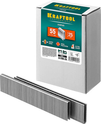 Скобы для степлера узкие, KRAFTOOL, скобы тип 55, 25 мм (31789-25), фото 2