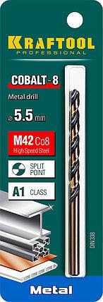 Сверло по металлу KRAFTOOL, Ø 5.5 мм, HSS-Co (8%), класс A, DIN 338 (29656-5.5), фото 2