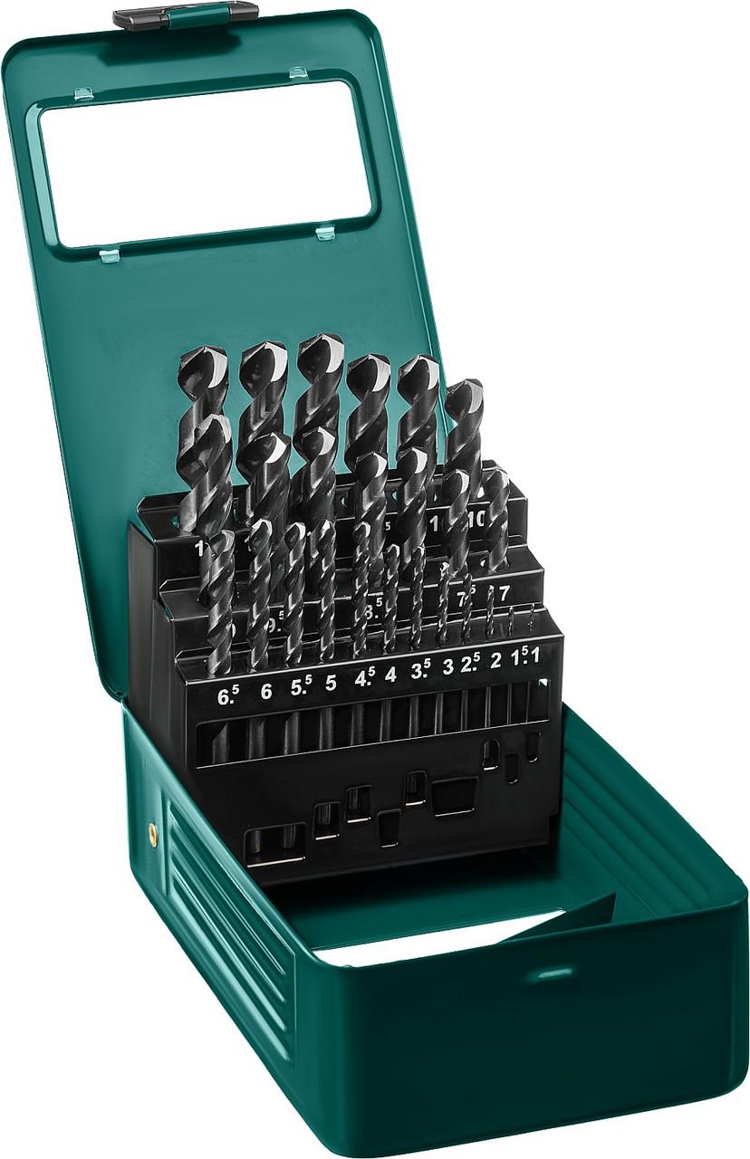 Набор сверл по металлу KRAFTOOL, 25 шт. (Ø 1-13 мм), класс A, HSS-G, сталь М2(S6-5-2) (29651-H25)