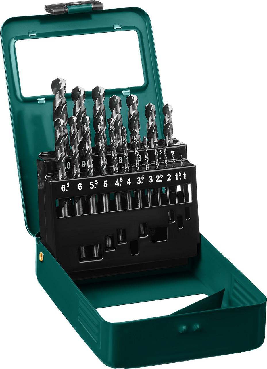 Набор сверл по металлу KRAFTOOL, 19 шт. (Ø 1-10 мм), класс A, HSS-G, сталь М2(S6-5-2) (29651-H19)