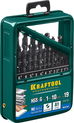 Набор сверл по металлу KRAFTOOL, 19 шт. (Ø 1-10 мм), класс A, HSS-G, сталь М2(S6-5-2) (29651-H19), фото 2