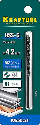 Сверло по металлу KRAFTOOL, Ø 4.2 мм, HSS-G, сталь М2 (S6-5-2), класс A, DIN 338 (29651-4.2), фото 2
