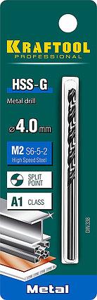 Сверло по металлу KRAFTOOL, Ø 4 мм, HSS-G, сталь М2 (S6-5-2), класс A, DIN 338 (29651-4), фото 2