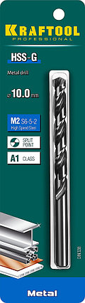 Сверло по металлу KRAFTOOL, Ø 10 мм, HSS-G, сталь М2 (S6-5-2), класс A, DIN 338 (29651-10), фото 2