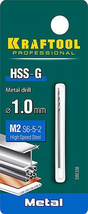 Сверло по металлу KRAFTOOL, Ø 1 мм, HSS-G, сталь М2 (S6-5-2), класс A, DIN 338 (29651-1), фото 2