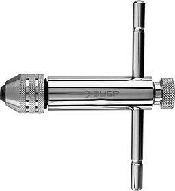 Метчикодержатель, ЗУБР M5 - M12, L - 110 мм/L - 120 мм, храповый механизм и реверс, Т-образный (28138-110_z01)