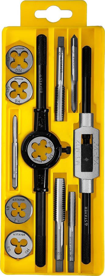 Набор метчиков и плашек MaxCut, STAYER, 12 предметов, легированная сталь (28012-H12_z01)