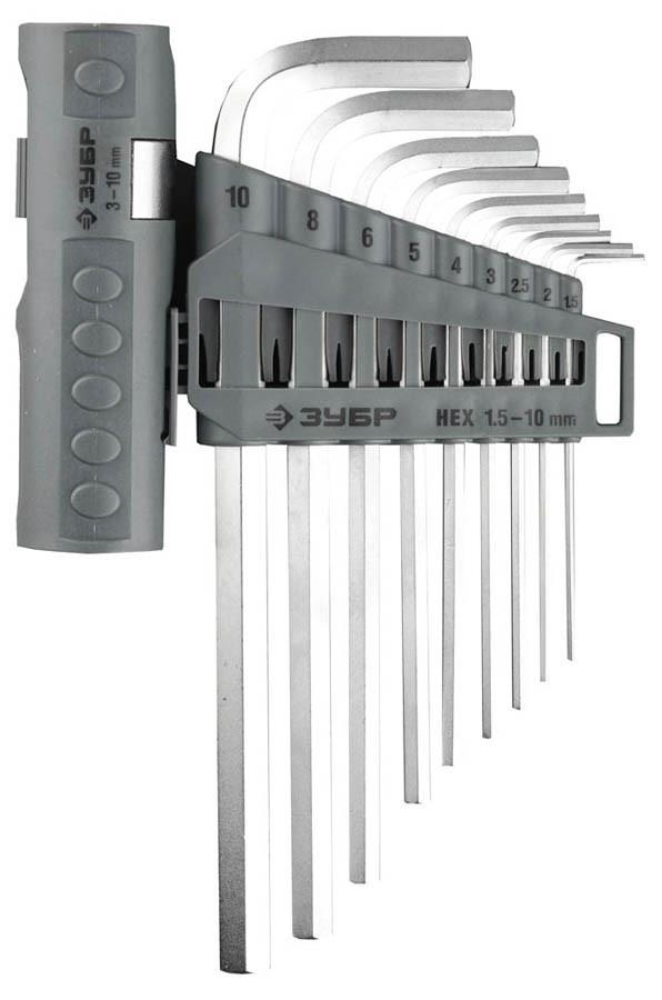 Ключи имбусовые длинные в наборе, ЗУБР, 9 шт., Cr-V (2745-3-1_z01)
