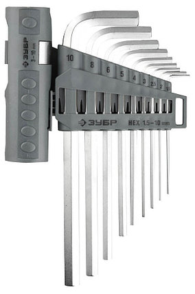 Ключи имбусовые длинные в наборе, ЗУБР, 9 шт., Cr-V (2745-3-1_z01), фото 2