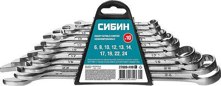 Набор комбинированных гаечных ключей, СИБИН, 10 шт, 6 - 24 мм (27089-H10_z01), фото 2