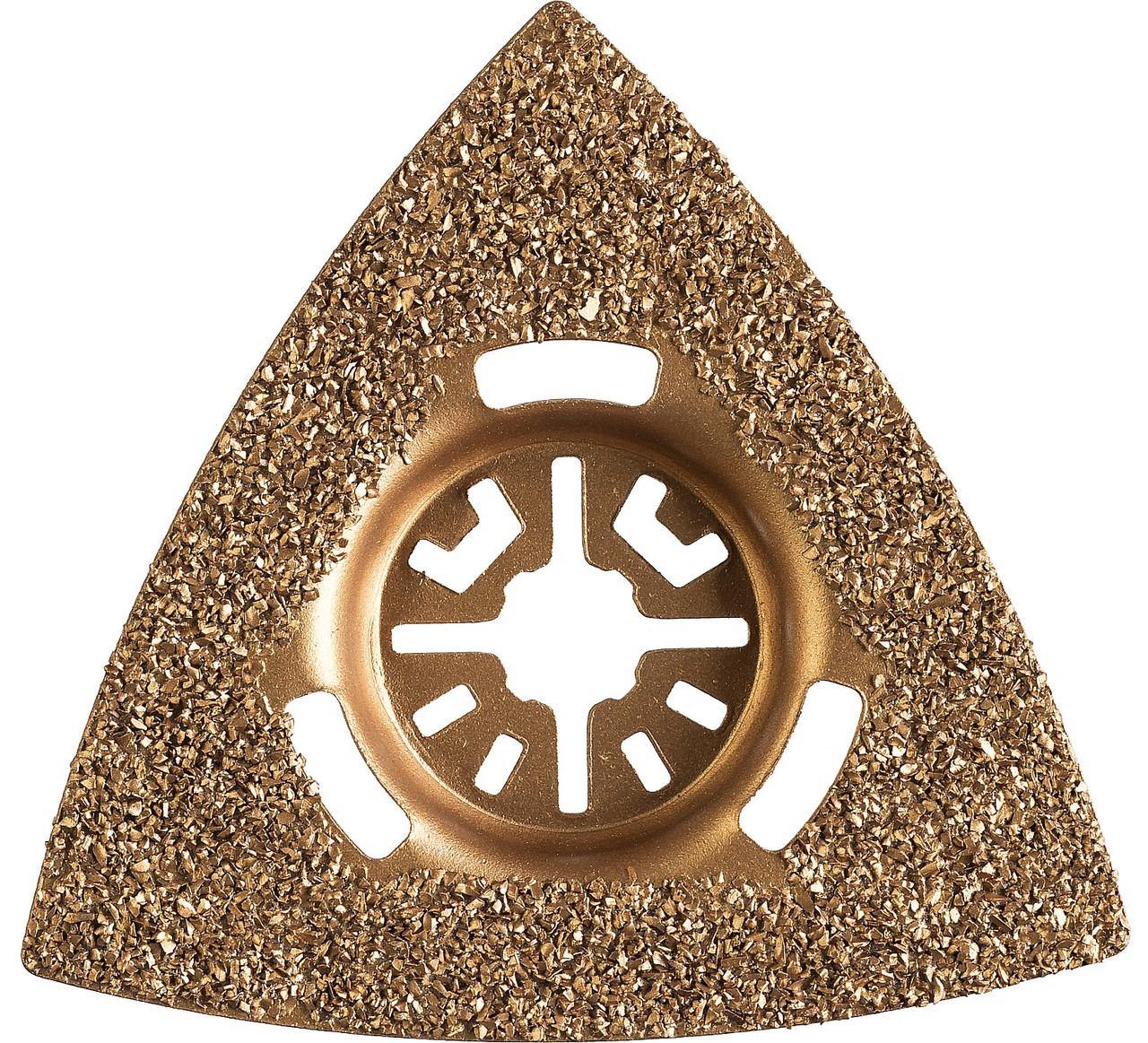 Шлифовальная насадка c карбид-вольфрамовым напылением ШВТ-80, ЗУБР, сторона 80 мм, треугольная (15563-80)