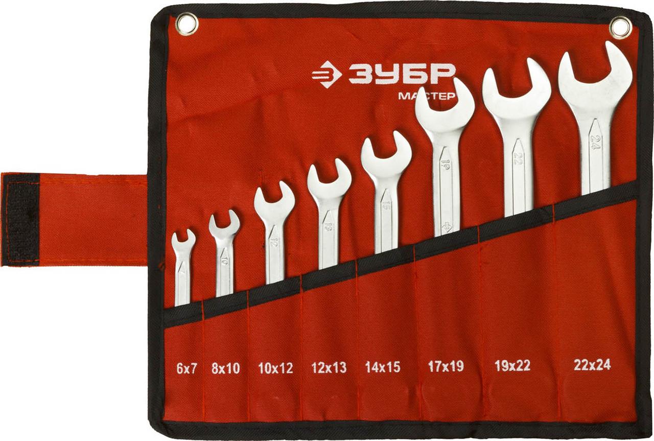 Набор ключей гаечных рожковых, ЗУБР, 8 шт., 6-24 мм, Cr-V сталь, хромированный (27010-H8)