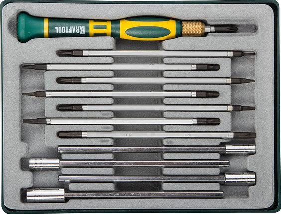 Отвёртка для точных работ со сменными стержнями и головками X-Turbo, KRAFTOOL, 12 предметов (25611-H12), фото 2