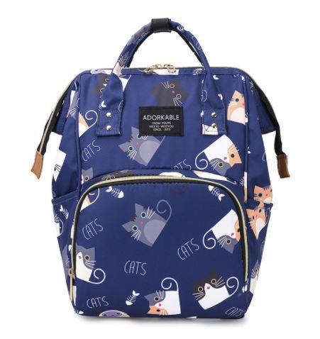 Рюкзак для мамы с кошками, цвет темно-синий