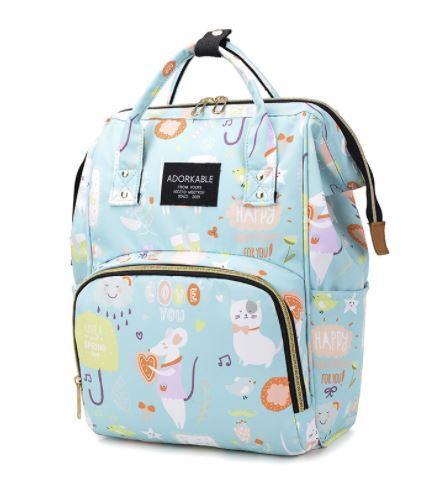 Рюкзак для мамы с мышками, цвет свето-голубой