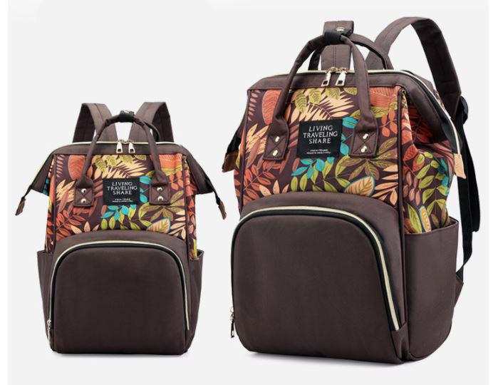 Рюкзак для мамы с цветами, цвет коричневый