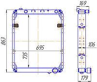 642290К-1301010 Радиатор водяной МАЗ 1-рядный ЯМЗ-238ДЕ2 (642290К.1301010)