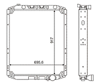 543208-1301010-001 Радиатор МАЗ с двиг. 7511 3-рядный new