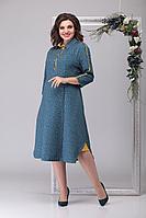 Женское осеннее голубое большого размера платье Michel chic 2027 стальной-голубой 52р.