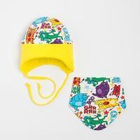 Комплект для мальчика (шапка,снуд), цвет жёлтый, размер 44-47 см (9-18 мес.)