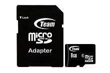 Team Group TUSDH8GCL1003 карта памяти Micro-SDHC, 8Gb, Class 10 w/Adapt