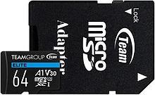 Team Group TEAUSDX64GIV30A103 карта памяти Elite MicroSDHC/SDXC 64GB U3 90MB/sec; Write: 45MB/sec + SD Adapter