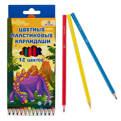 Карандаши 12 цветов, Attomex Dino World, 2B, шестигранные пластиковые, d=2.65 мм, в картонной коробке