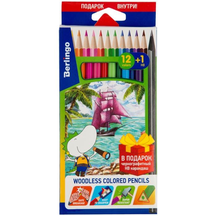 Карандаши 12 цветов Berlingo «Корабли» +1 чернографитный карандаш HB, европодвес