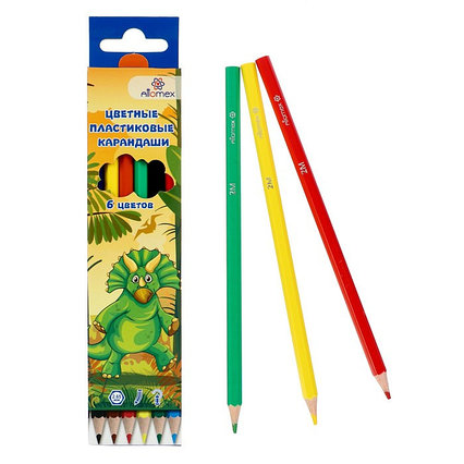 Карандаши 6 цветов, Attomex Dino World, 2B, шестигранные пластиковые, d=2.65 мм, в картонной коробке