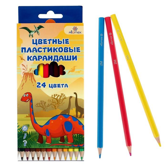 Карандаши 24 цвета, Attomex Dino World, 2B, шестигранные пластиковые, d=2.65 мм, в картонной коробке