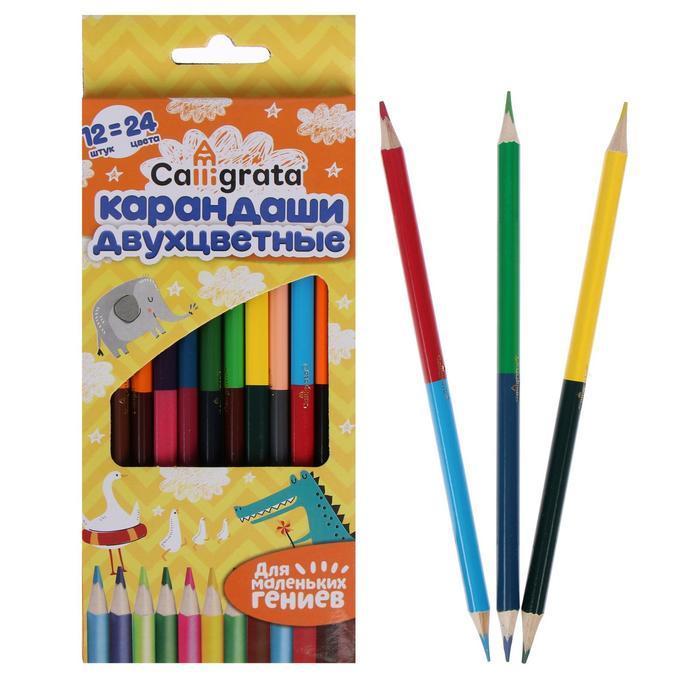 Карандаши двухсторонние заточенные Calligrata 12 штук, 24 цвета, трёхгранные, в картонной коробке